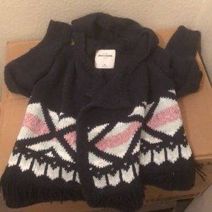 Girls woven sweater with hood